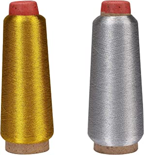 moinkerin Stickgarn Embroidery Polyester Nähgarn Sewing Thread, 1 Rolle Silber und 1 Rolle Gold 2500 Yards 150D