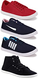 Camfoot Women's (9237-5003-1207-5043) Multicolor Casual Sports Running Shoes (Set of 4 Pair)