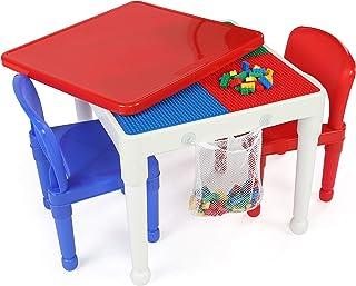 مجموعة العاب بناء بلاستيكية توت تيوترز 2 في 1، مكونة من طاولة وكرسيين، بتصميم دائري وبالوان اساسية، لانشطة العاب الاطفال