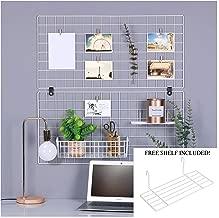 Herculez Wall Grid Panel Organizer - Free Mini Shelf Included! - Wire Grid Wall - Photo Display Grid - Photo Hanging Display - Wall Storage Organizer - Wall Grid Decor - Pack of 2 - (White)
