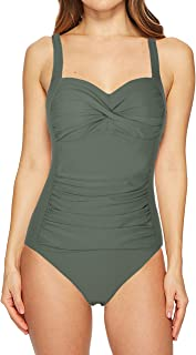 Women's Black One Piece Bathing Suit Ruched Tummy Control Swimsuit