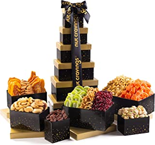 Gourmet Tower Gift Basket Nut & Dry Fruit Tray (12 Mix) - Variety Care Package, Birthday Party Food, Holiday Arrangement P...