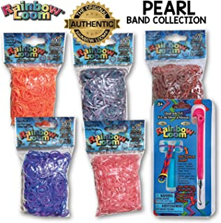 Rainbow Loom 3000+ Authentic Rubber Band Collection (Pearl) + Bonus Metal Hook, Long Lasting Bands