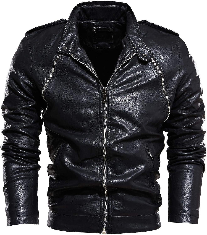 Men Leather Jackets,Vintage Classic Leather Zip Up Biker Bomber Jacket V1535