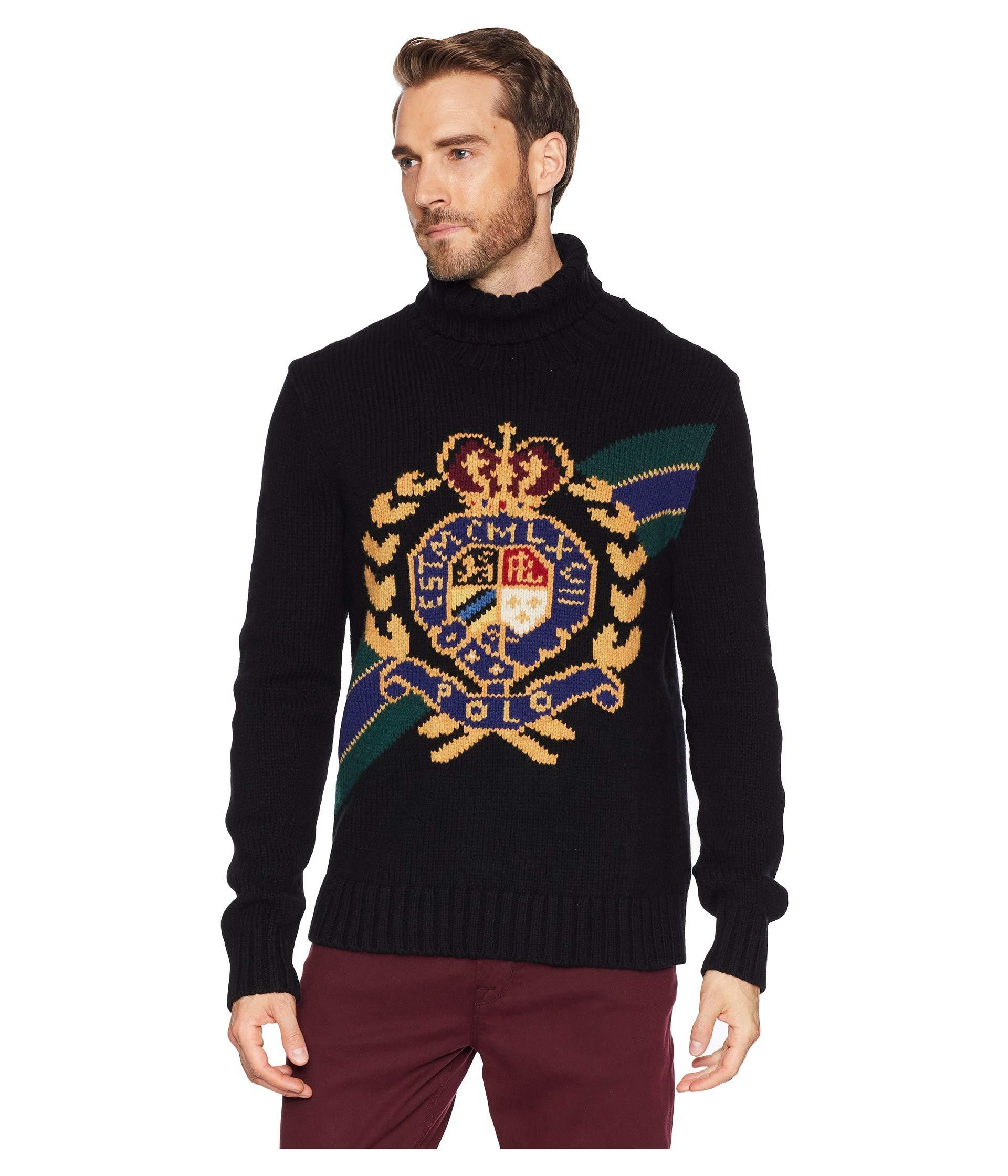Turtleneck Lauren Ralph Black Wool Polo Sweater Cftw5dCqnZ