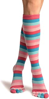 Pink & Blue Stripes & Printed Smiles Knee High Toe Socks - Toe Socks