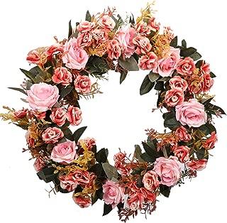Duovlo Rose Floral Twig Wreath 19 Inch Handmade Artificial Flowers Garland Front Door Wreath (Pink)