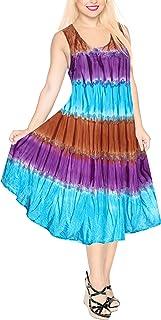 LA LEELA Women's Beach Dress Tunic Top T-Shirt Swing Dress Kaftan Hand Tie Dye A