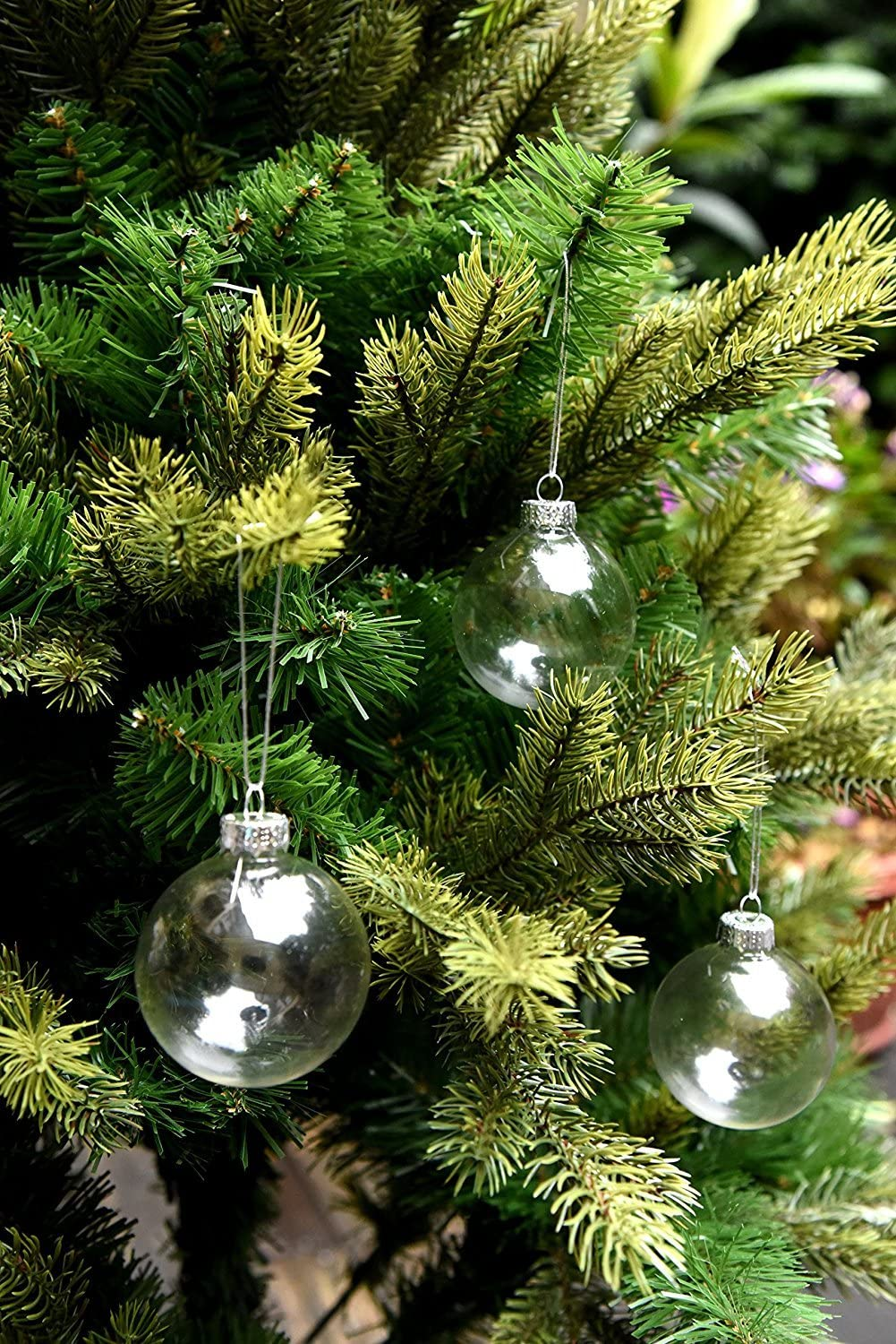 Iridescent Clear Glass Heart Christmas Baubles Sphere Fillable XmasTree Ornament