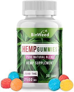 Hemp Gummies (2500mg) | Made in USA | 84 mg per Gummy | Relieves Pain, Stress, Anxiety, Inflammation, Insomnia | *Reformul...