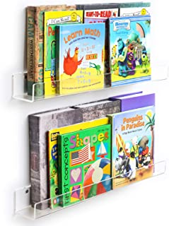 NIUBEE Acrylic Invisible Floating Bookshelves 24 inches, 2 Pack,Kids Clear Wall Bookshelves Display Book Shelf,50% Thicker with Free Screwdriver