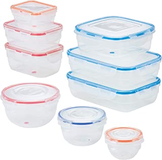 LOCK & LOCK Easy Essentials Color Mates Food Storage lids/Airtight containers, BPA Free, 18 Piece, Clear