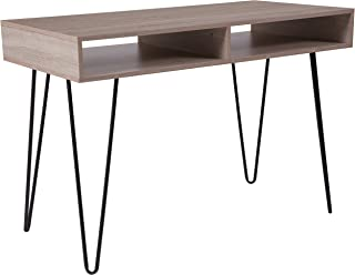 Flash Furniture Franklin Oak Wood Grain Finish Computer Table with Black Metal Legs - NAN-JH-1758-GG