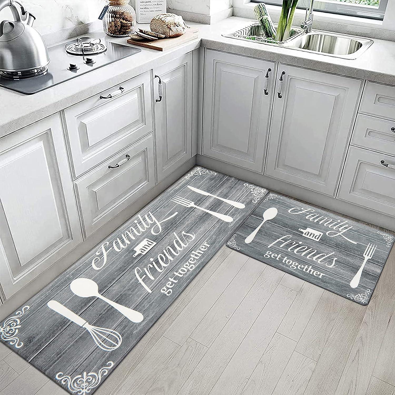 HEBE Anti Fatigue Kitchen Mat Set of 2 Standing Floor Mats Set Non-Slip PVC Foam Kitchen Rugs Ergo-Foam Comfort Kitchen Floor Mat for Home, Sink, Laundry, and Stand-up Desks