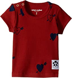 mini rodini - Heart Rib Short Sleeve T-Shirt (Infant/Toddler/Little Kids/Big Kids)