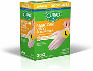 CURAD Basic Care Vinyl Disposable Exam Gloves, Large (Pack of 300)