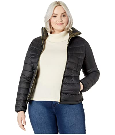YMI Snobbish Plus Size Reversible Packable Puffer Camouflage Jacket (Black/Camo) Women