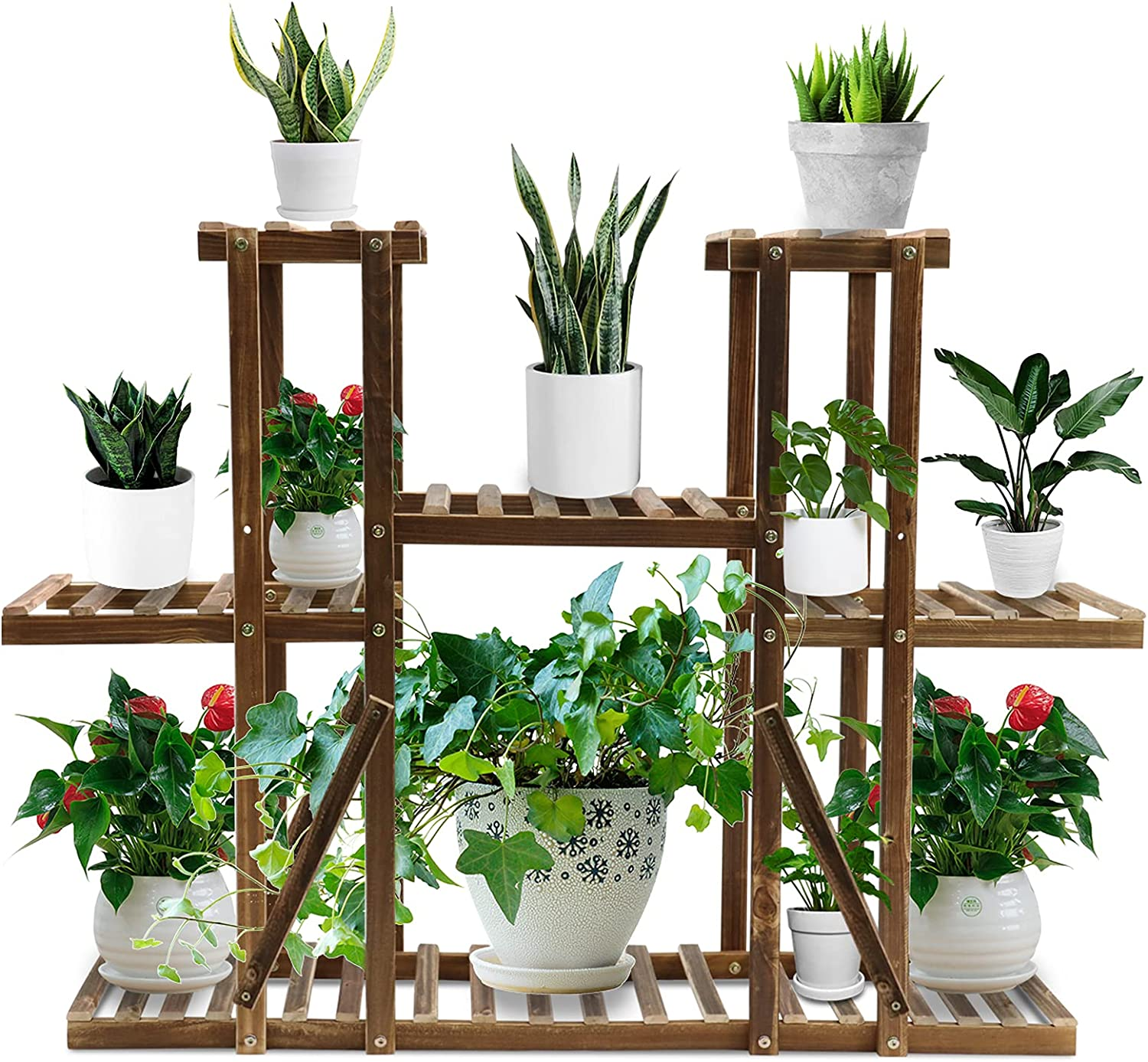 Hohong Wood Plant Large special price !! Stand Indoor famous S Potted Tier 3 Tall