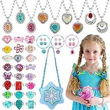 vamei 43pcs Joyas de Princesa Niñas Princesa Joyas Accesorios joyería Collar Pulsera Pendientes Ajustables Anillos Elsa Juego de Joyas con Bolso para Fiesta