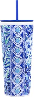 Lilly Pulitzer Double Wall Insulated Tumbler with Reusable Flexible Straw, Holds 24 Ounces, High Maintenance