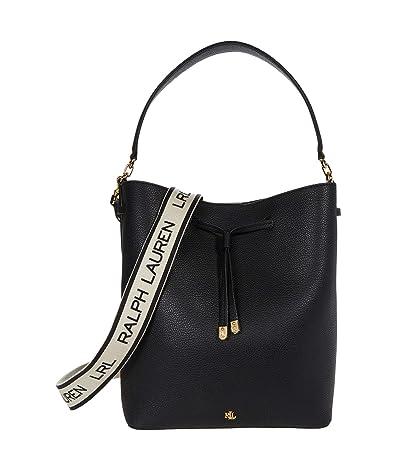 LAUREN Ralph Lauren Classic Pebble Debby Drawstring Large (Black) Handbags