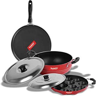Sumeet 2.6mm Thick Non-Stick Red Crown Combo set (Dosa Tawa – 26.5cm Dia + Kadhai With Lid – 1.5Ltr capacity- 20cm Dia + Grill Appam Patra With Lid – 23cm Dia)