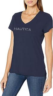 NAUTICA Womens 9300ZV Easy Comfort Supersoft 100% Cotton Classic Logo T-Shirt Short Sleeve T-Shirt - White - Medium