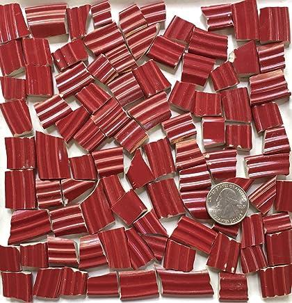 Mosaic Art & Craft Supply ~ Dark Red Rim Tiles with Ridges (T#A076)