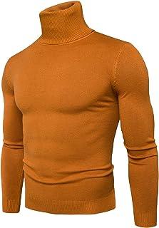Col Roulé Pull Haut Slim Fit Basique T-Shirt Polaire Doublé Manches Longues