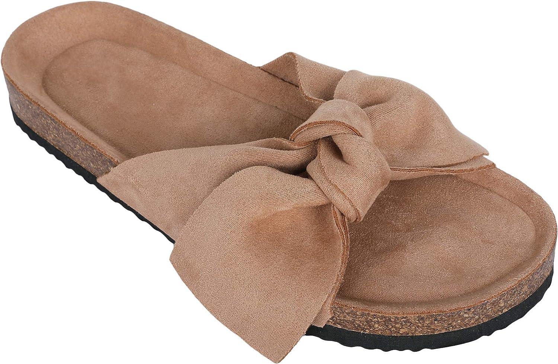 Womens Platform Slides Slip On Open Toe Bowknot Flat Cork Sandals Summer Casual Flats Shoes