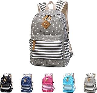 Cotton Canvas School Backpack Casual Daypack Shoulder Bag for Teens Girls Boys (8833 Grey)