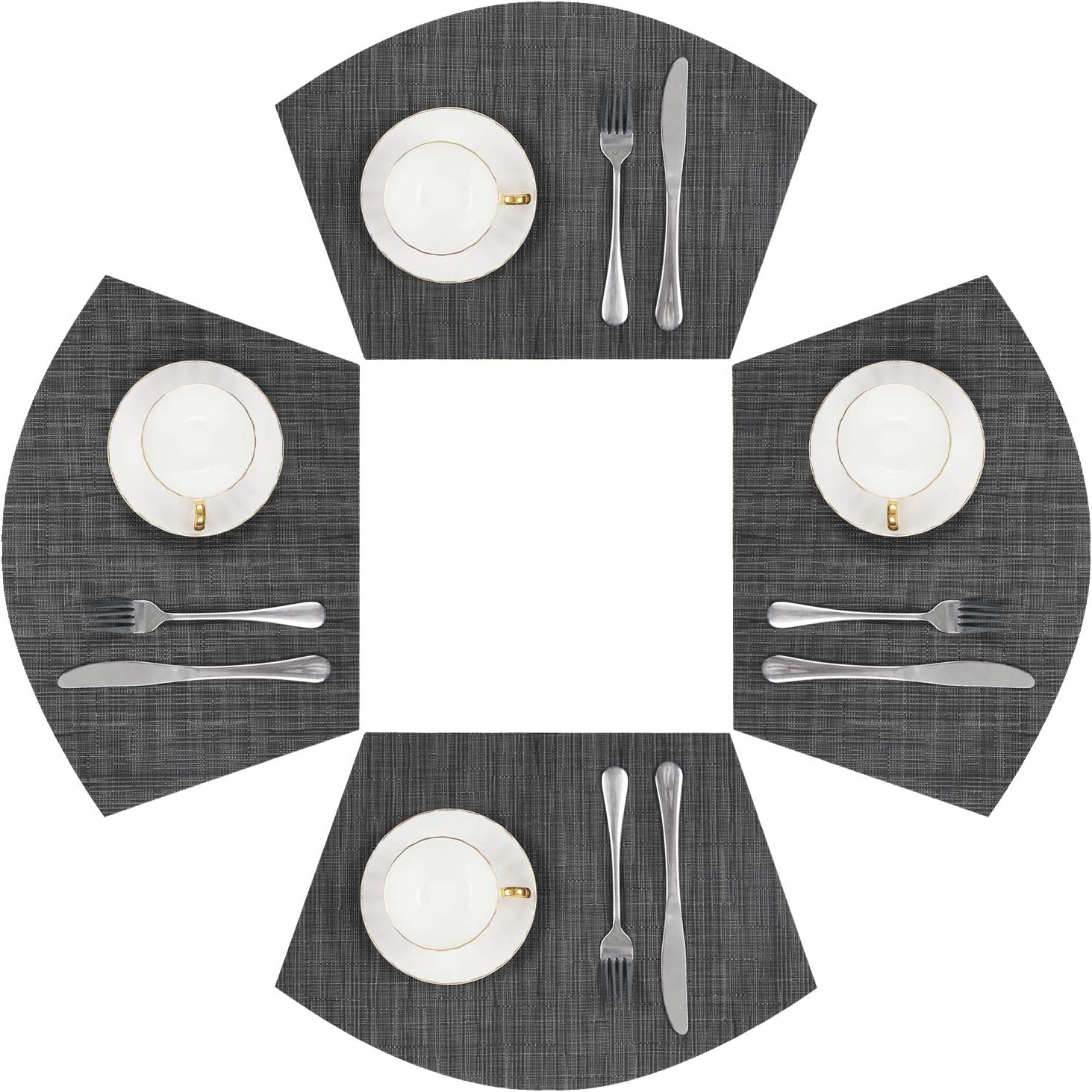 SHACOS Round Table Placemats Set of 4 Wedge Placemats Heat Resistant Round Table Mats Wipe Clean (4, Bamboo Tan): Home & Kitchen