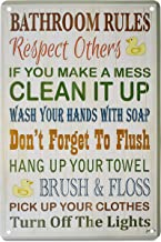 K&H Funny Caption Quote Retro Metal Tin Sign Posters Home Kitchen Café Diner Restaurant Wall Decor 12X8-Inch … (Bathroom Rules)