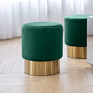 Art Leon Small Round Velvet Ottoman, Upholstered with Gold Plating Base Footstool Rest Extra Seat, Pack of 1 (Dark Green)