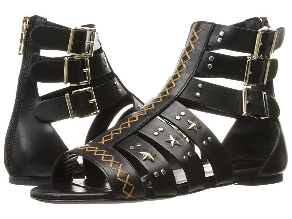 Just Cavalli Leather Star and Stud Sandal (Black) Women