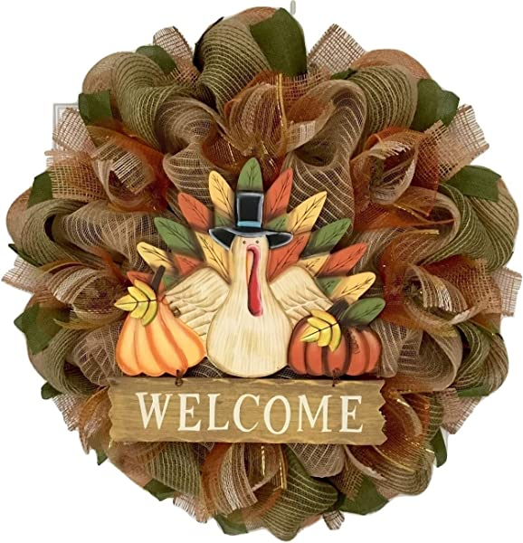 Thanksgiving Wood Turkey Welcome Wreath Burlap And Deco Mesh