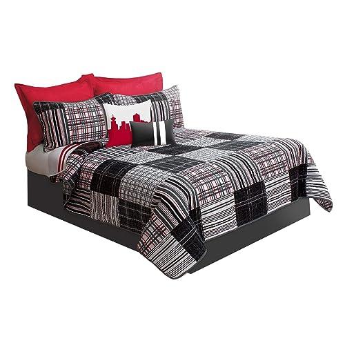 Duncan Plaid Printed Bedding 3 Piece/Bedspread Coverlet Quilt Set (Grey, King)