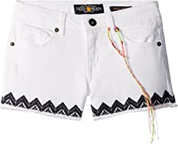 Riley Stretch Denim Shorts with Embroidery (Little Kids)
