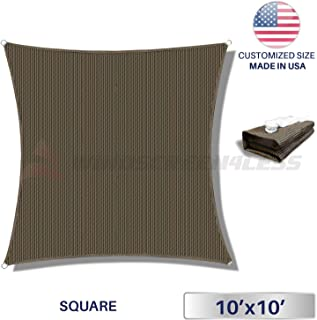 Windscreen4less Sun Shade Sail Brown 10' x 10' Square Patio Permeable Fabric UV Block Perfect for Outdoor Patio Backyard - Customize Available