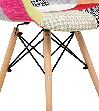 TIED RIBBONS Set of 2 Designer DSW Patchwork Chair for Living Room, Dining Room, Bed Room, Office, Home, Cafe, Side Chair, Ac