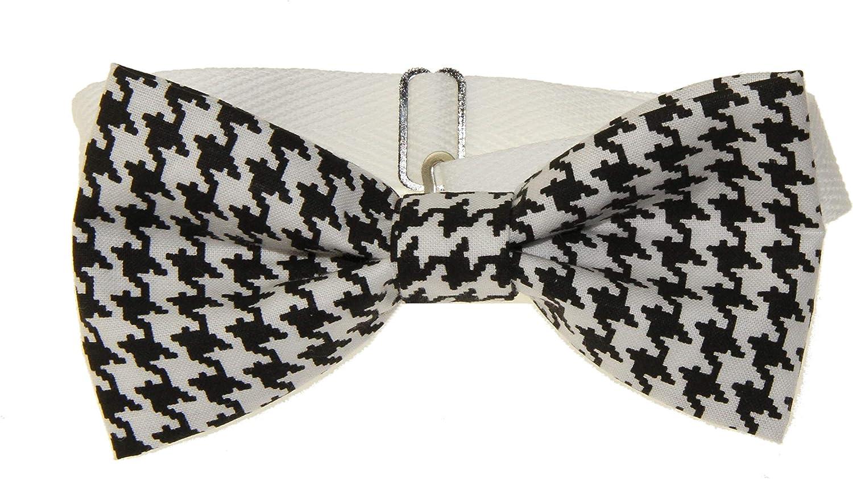 Men's Black/White Houndstooth Pre-Tied Adjustable Cotton Bow Tie Bowtie