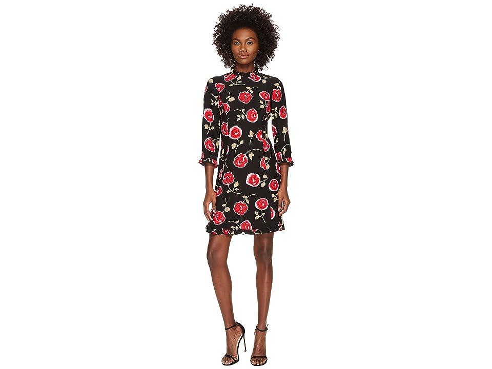 Kate Spade New York Hazy Rose Crepe A-Line Dress (Black Multi) Women