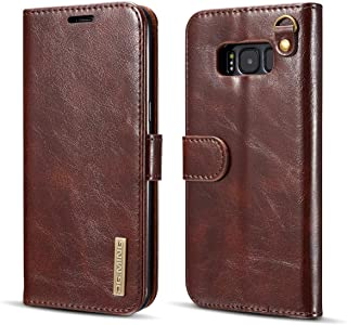 Protective Case Compatible with Samsung Compatible Samsung s8 Case Luxury Leather Flip Wallet Phone Case Compatible Samsung s8 Magnetic Coque Phone case (Color : Brown)