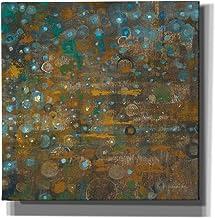 """لوحة فنية جدارية من القماش مطبوع عليها """"Blue And Bronze Dots X"""" من تصميم Danhui Nai مقاس 45.72 سم × 45.72 سم"""