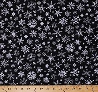 Cotton Snowflakes on Black Winter Snow Christmas Holiday Cotton Fabric Print by The Yard (JOLLY-C5185-BLACK)