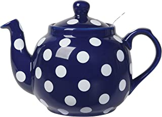 London Pottery Farmhouse Teapot with Stainless Steel Infuser, 4 Cup Capacity, Cobalt Blue with White Polka Dots