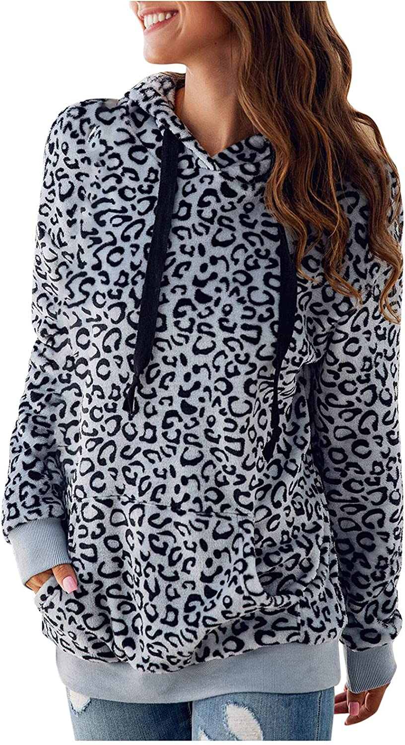 ViYW Women's Hooded Leopard Printed Blouses Shirts for Women Casual Summer Long Sleeve Tunics Top Fall Soft Teen Pullover