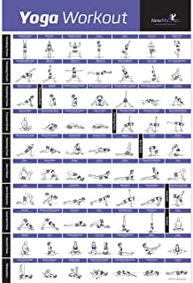 NewMe Fitness Yoga Pose Exercise Poster Laminated – Premium Instructional Beginner's Chart for Sequences & Flow - 70 Essential Poses - Sanskrit & English Names - Easy, View It & Do It! - 20