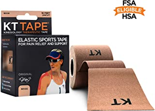 KT TAPE Original Cotton Elastic Kinesiology Therapeutic Athletic Tape, 16 Ft Uncut Roll, Beige, Latex Free, Breathable, Pro & Olympic Choice