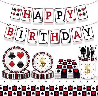33 PCS Casino Birthday Party Supplies Poker Birthday Party Supplies Poker Party Plates and Napkins Poker Birthday Banner V...